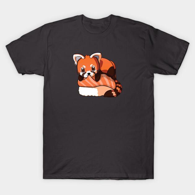 You can find the prints on teepublic.  https://www.teepublic.com/t-shirt/2052006-red-panda-salmon-sushi?store_id=125261