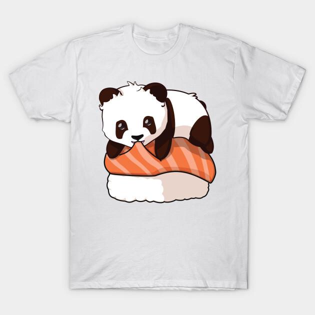 You can find the prints on teepublic. https://www.teepublic.com/t-shirt/9248330-panda-salmon-sushi?store_id=125261