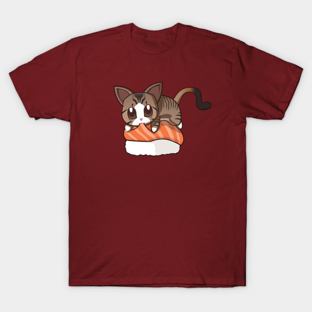 You can find the prints on teepublic. https://www.teepublic.com/t-shirt/1831755-brown-stripped-cat-salmon-sushi?store_id=125261