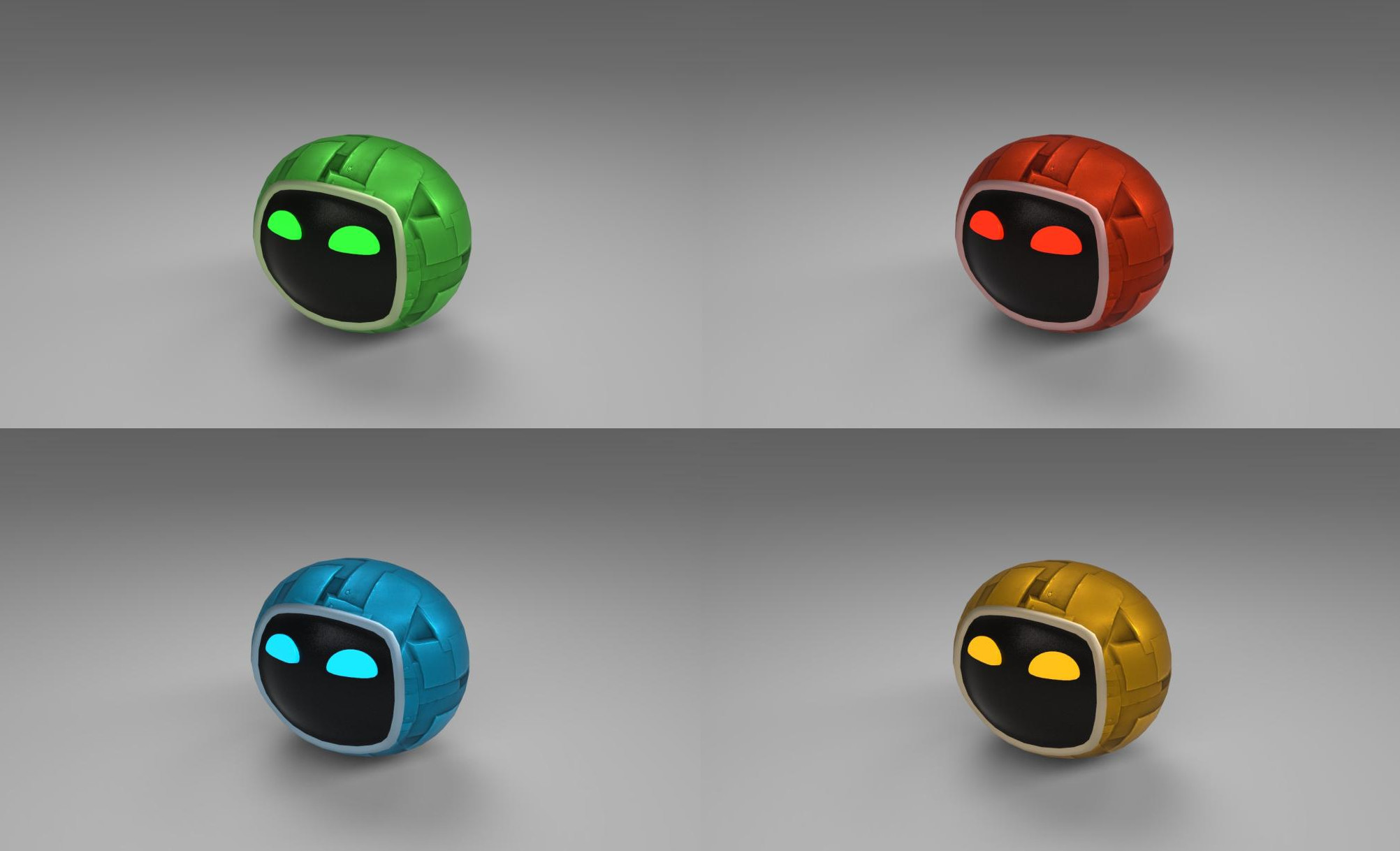 The four different characters. I made the models and did some texturing; with help from another 3D artist on the team that created a material for the characters.