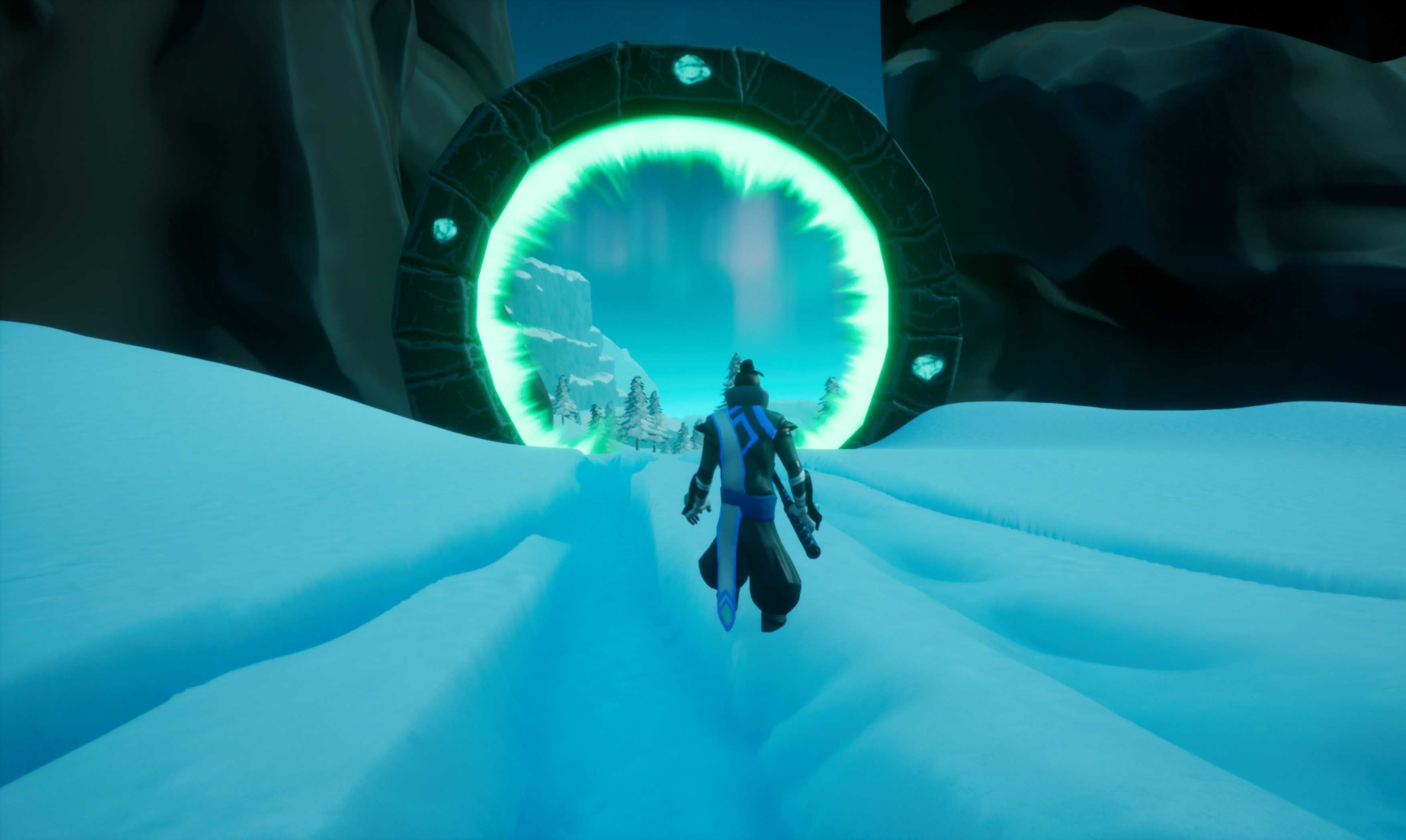 As a player you can go through portals that give you a speed boost when snowboarding.