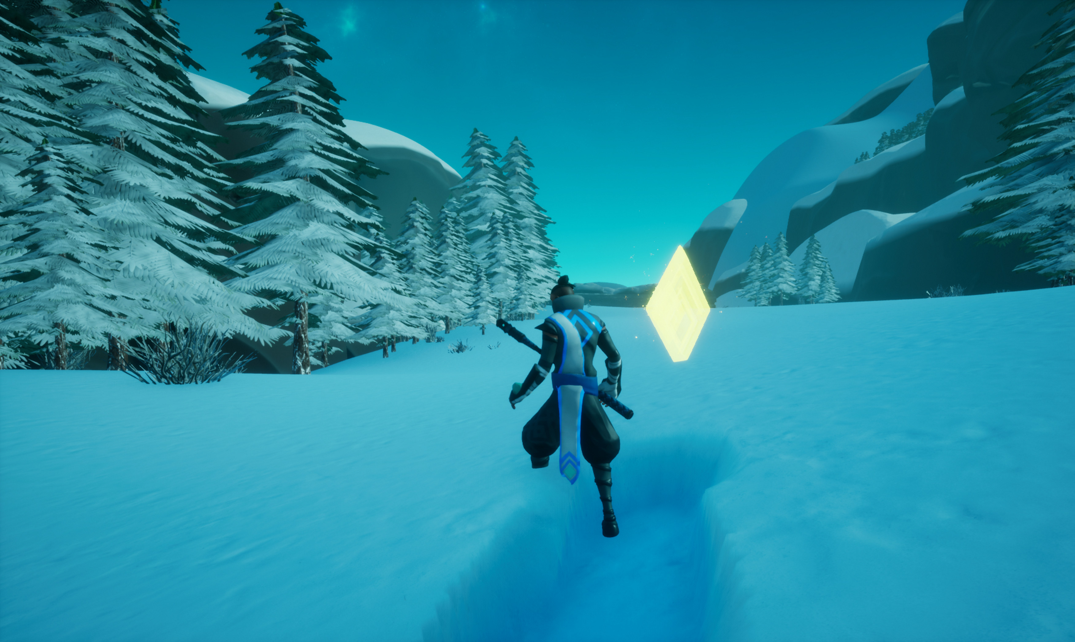 Your goal is to collect as many crystals and finish the level as quick as possible (without tripping over obstacles as you snowboard through the game)