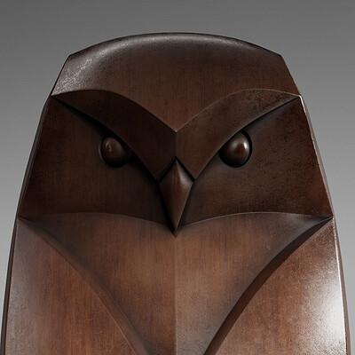 Ryan bullock render owl statue 01
