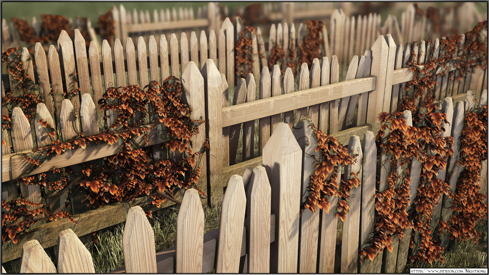 Broken Picket Fence with Vines