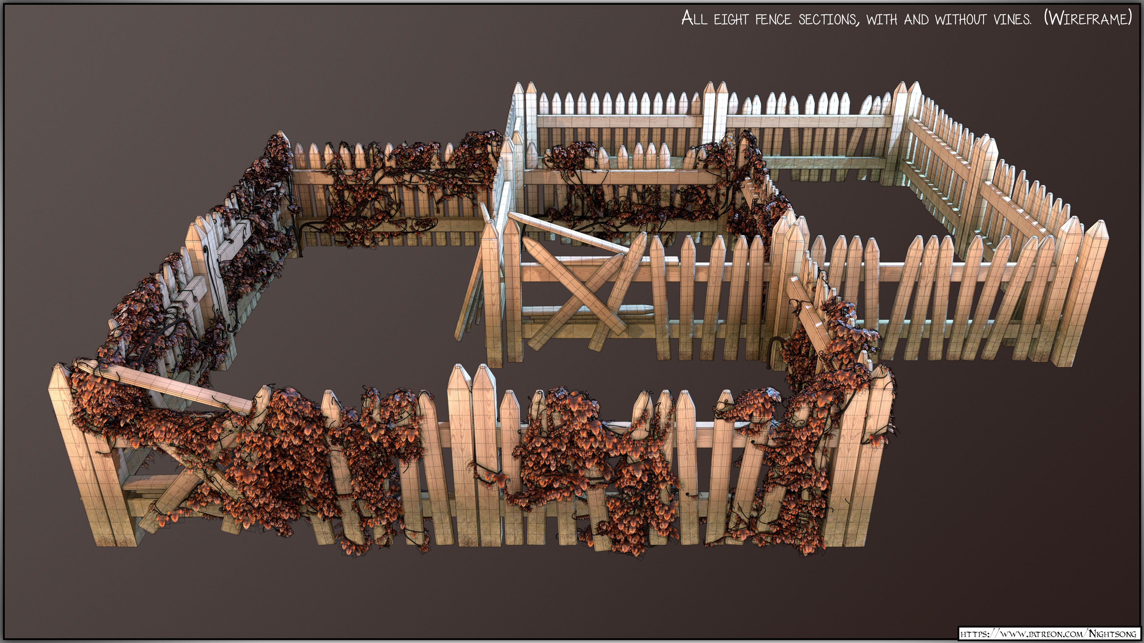 A Marmoset Toolbag render of all fence sections. (With wireframe.)