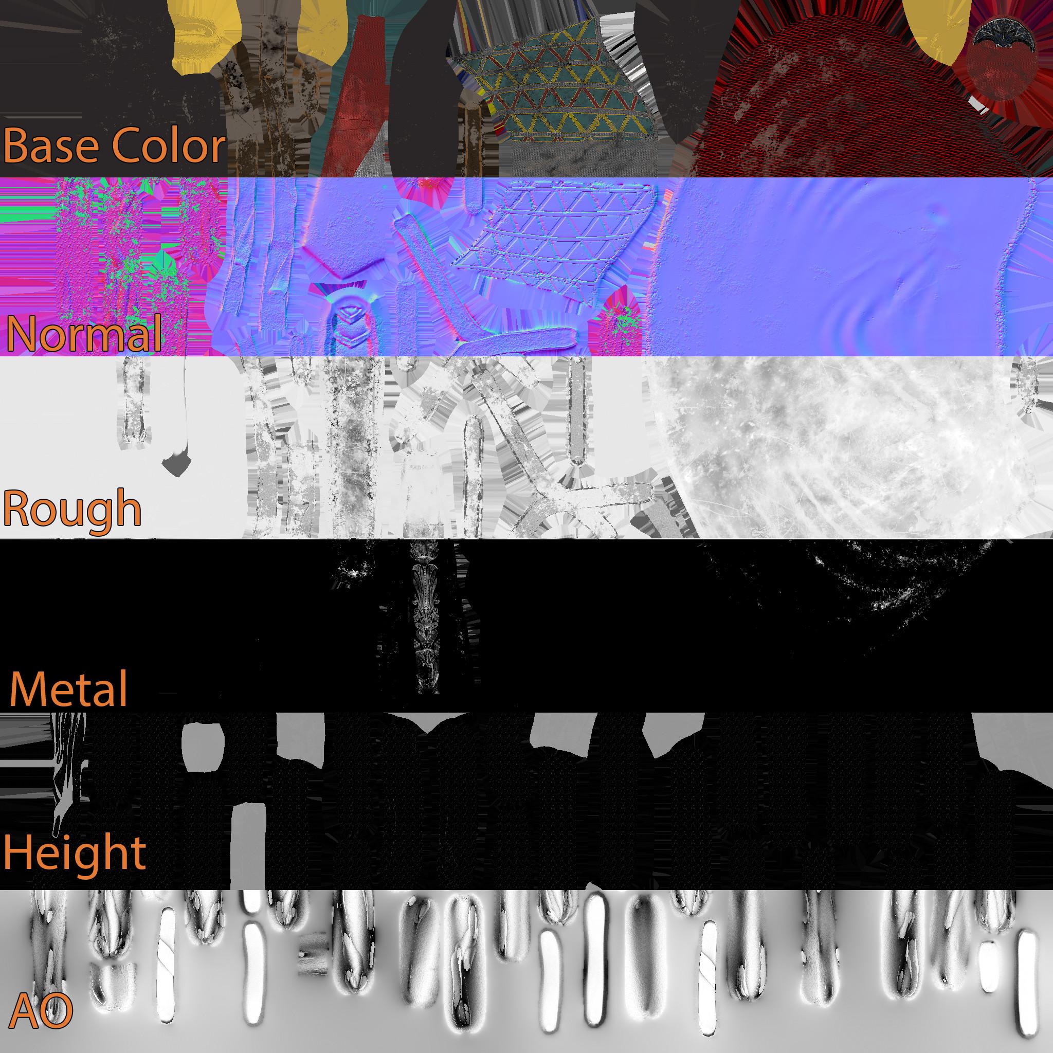 Texture sheet breakdown of the fabrics.
