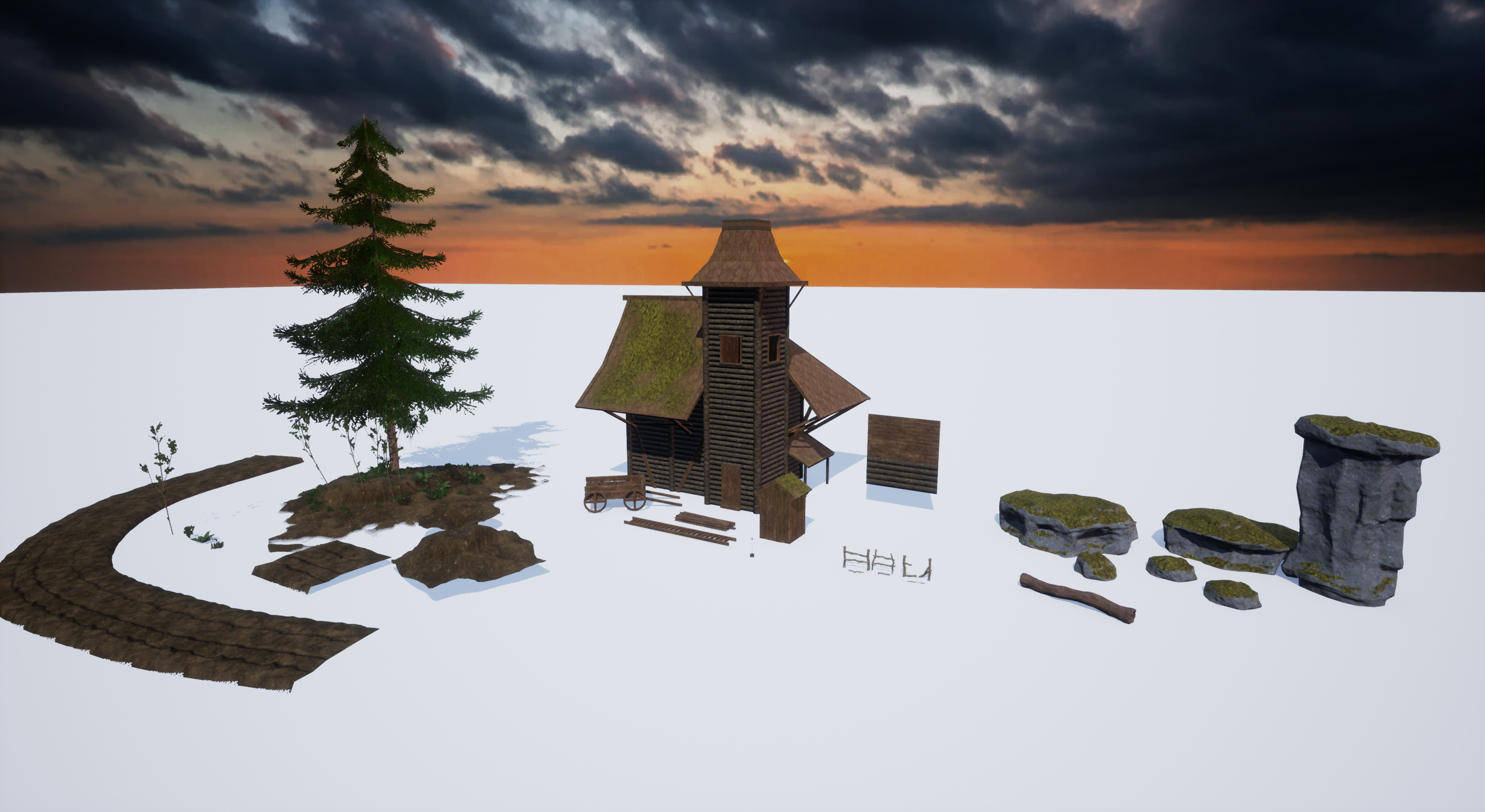 The full collection of assets used in the scene, not counting the textures.