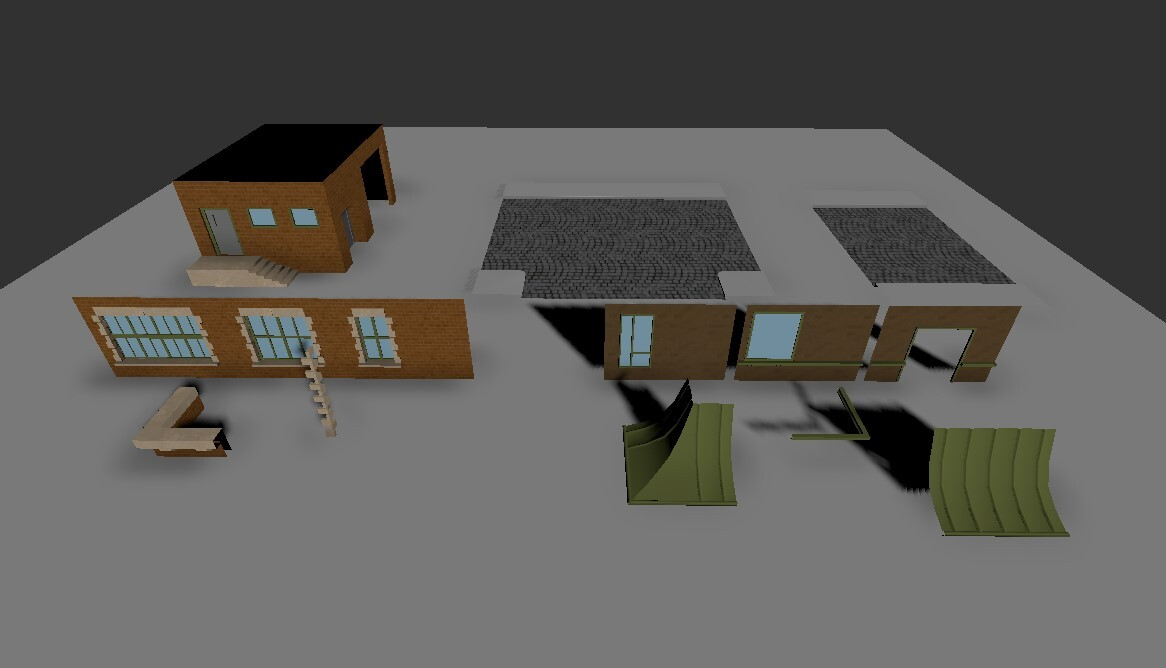 The modular building set for the houses. Used in everything except the church.