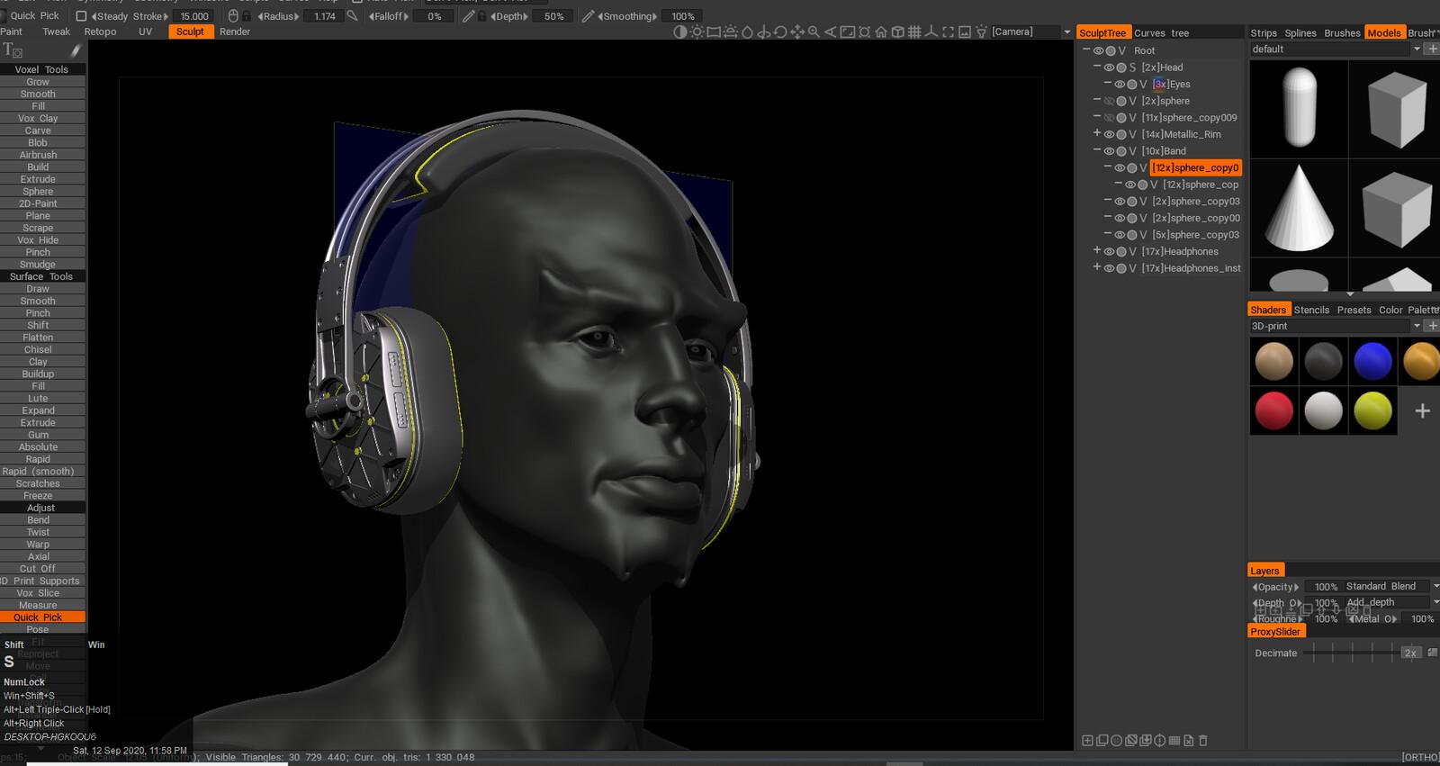 3D Coat Viewport Snapshot. Using my Offworlder head sculpt as the base.