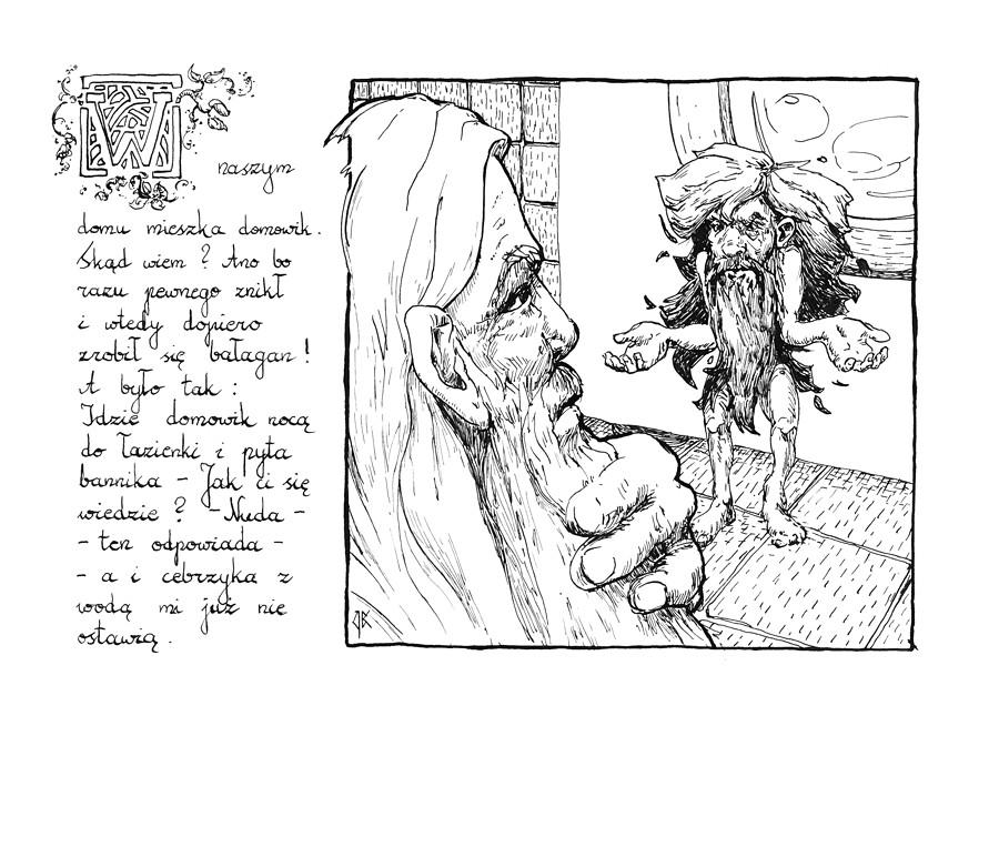 """PL: Styczniowa ilustracja i część historii dla kalendarza """"Rok Domowika"""".  ENG: January illustration and part of the story for Inktober Calendar."""