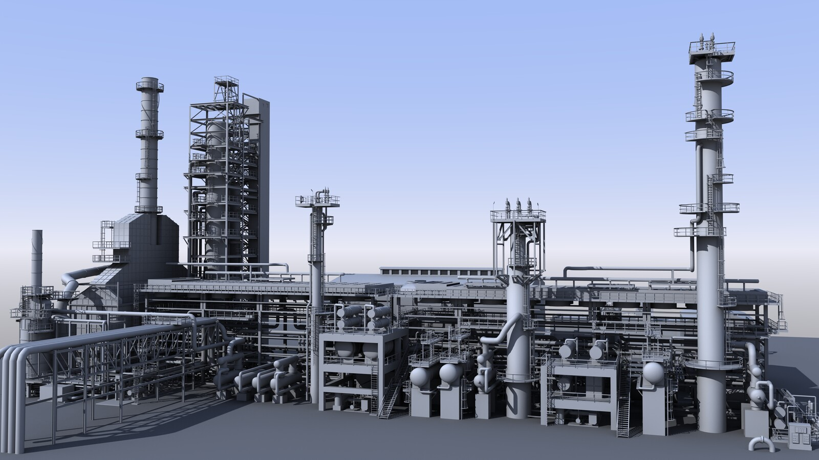 Oil Refinery Untextured Models