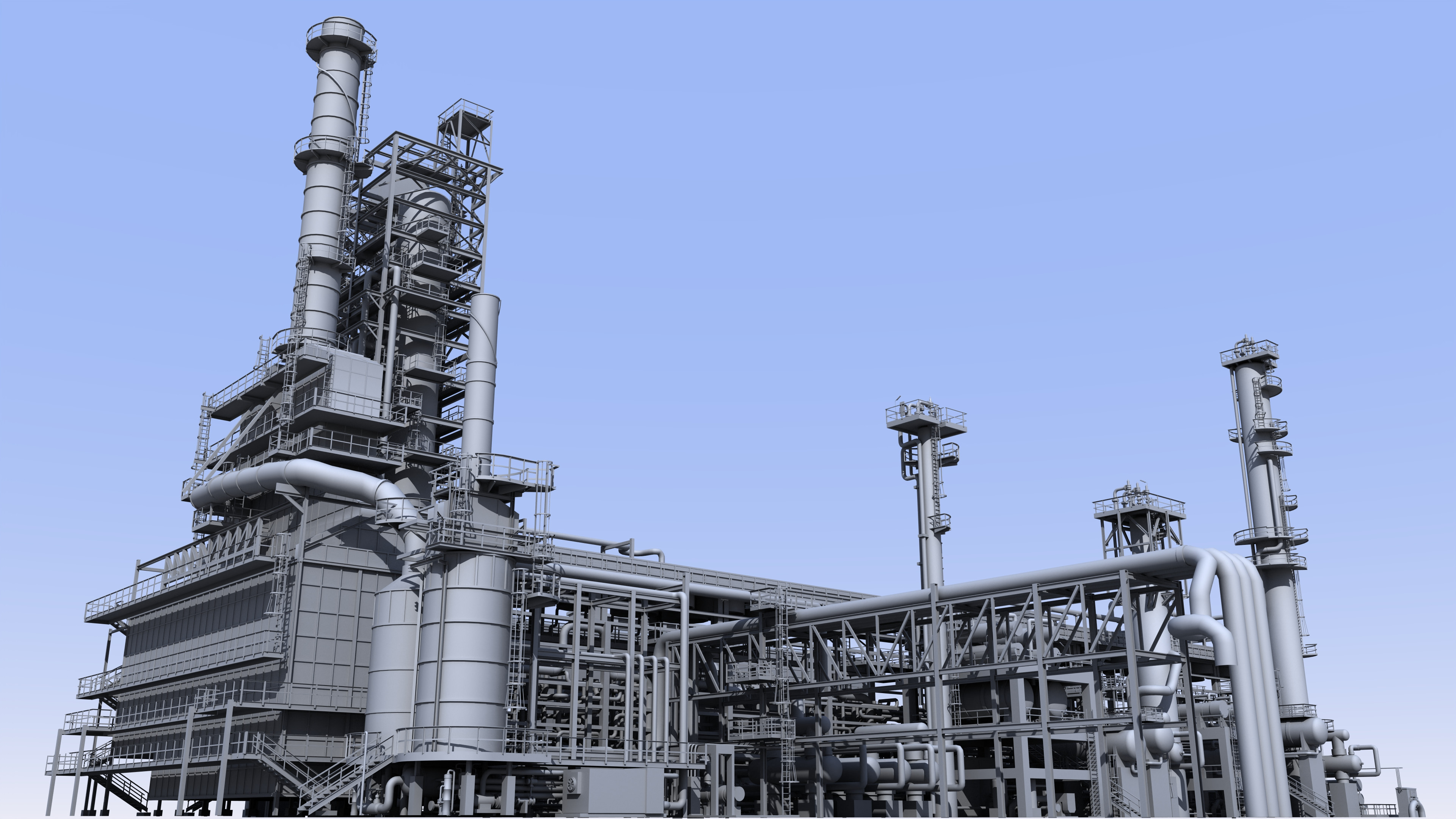 Catalyst regeneration section of oil refinery.
