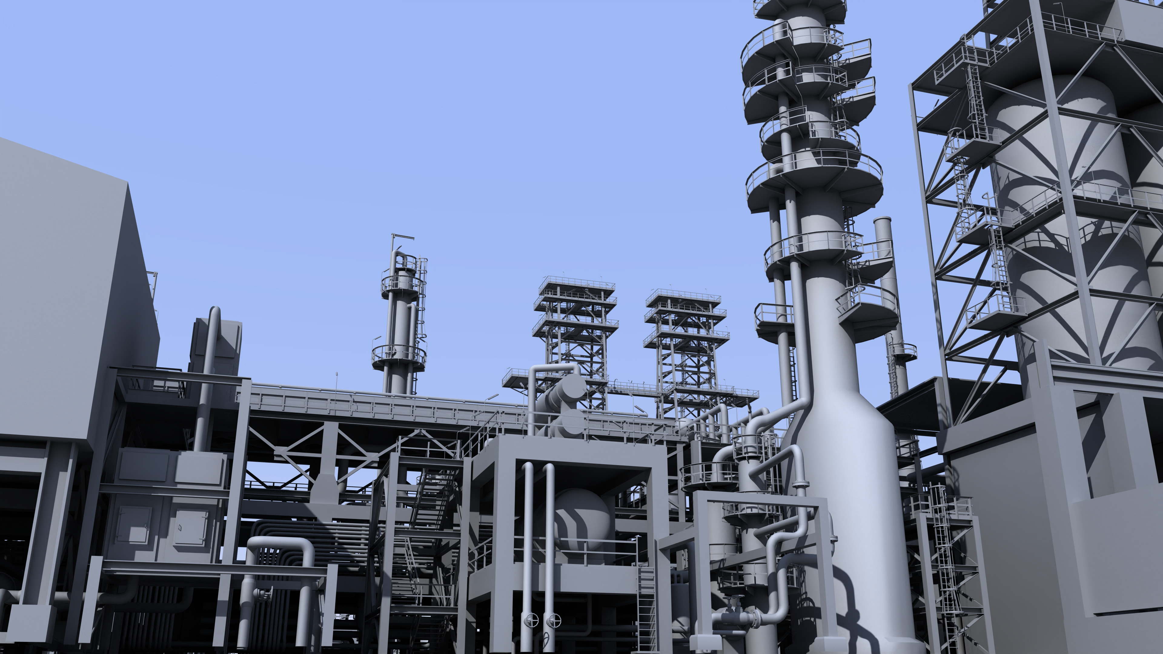 Coker unit section of oil refinery.