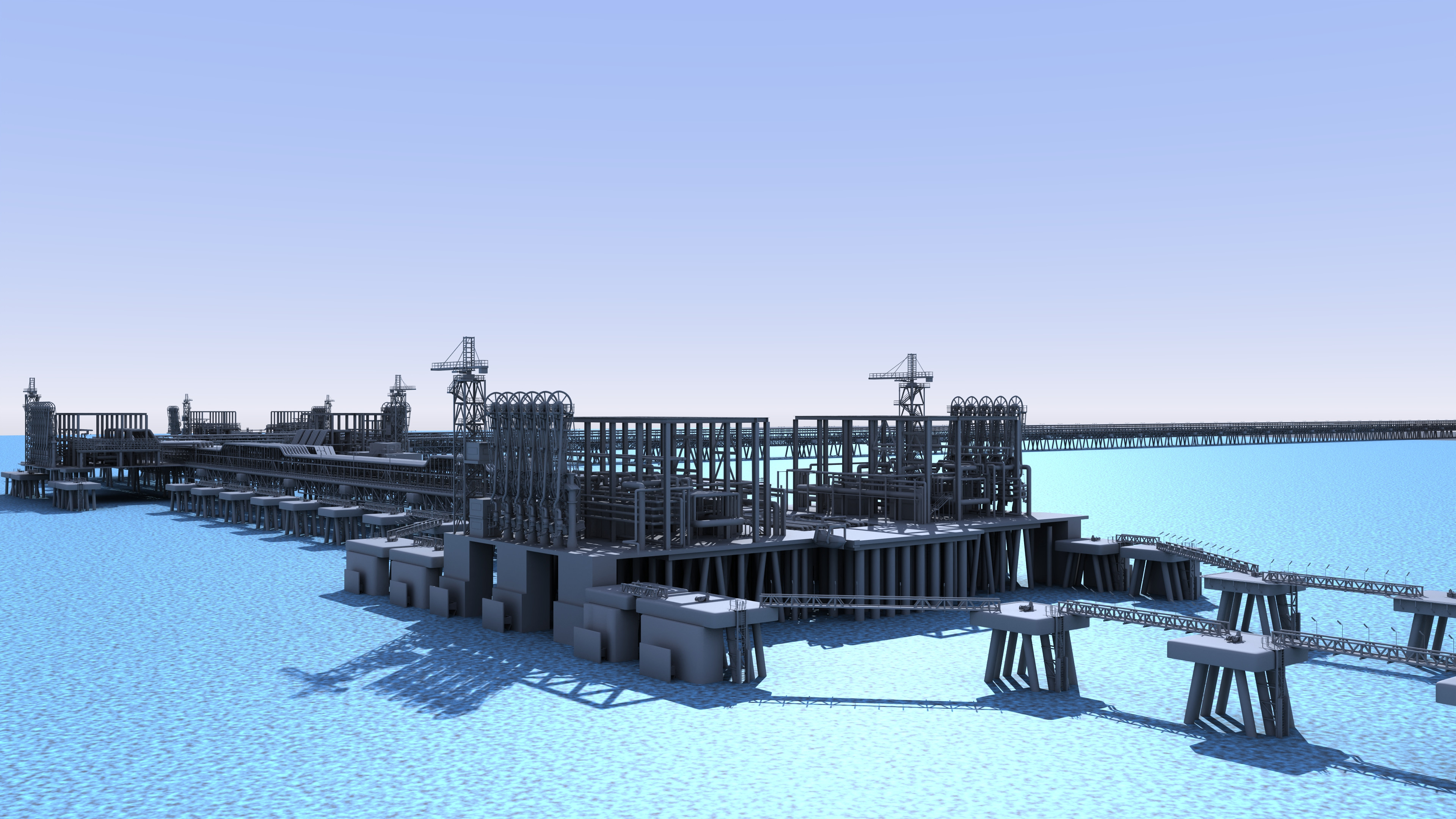 Fuel loading jetty in harbour
