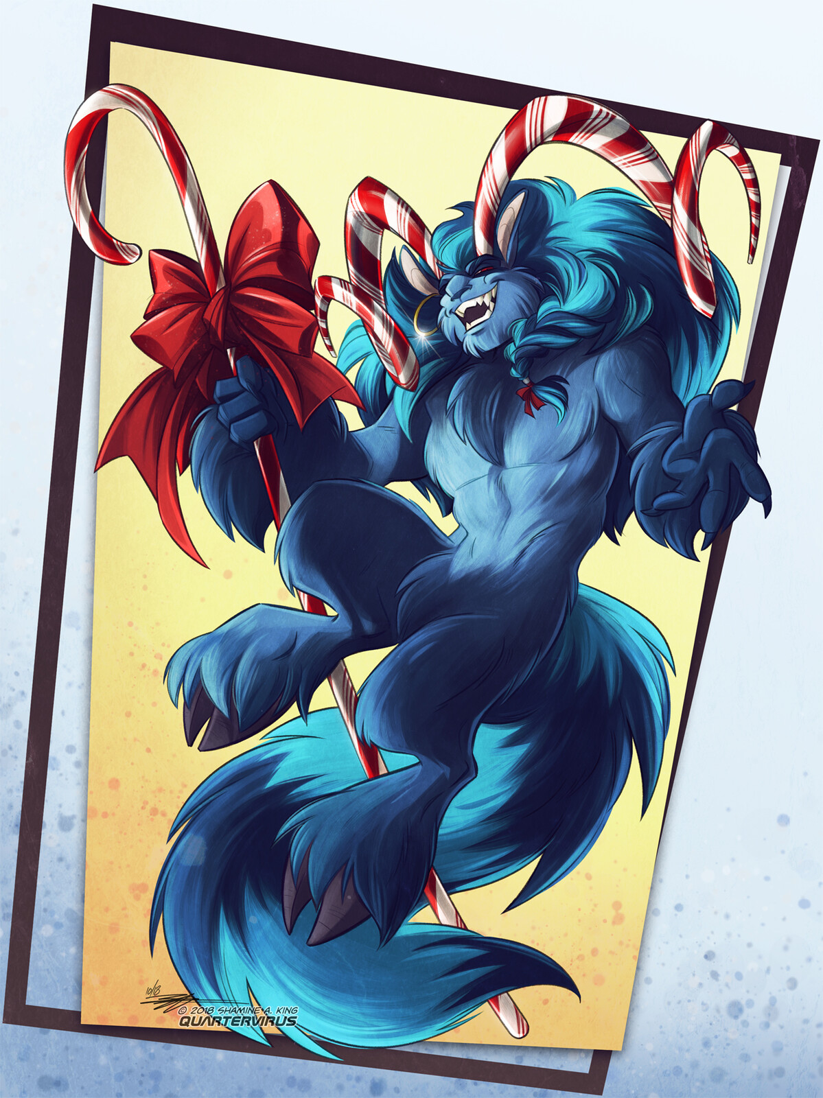 (Note: horns are not actually made from real candy cane. Krampus will not appreciate any attempts to taste them)