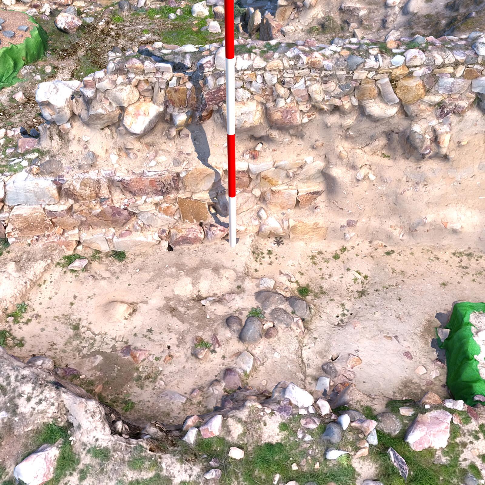 Modelo 3D del Sector III - detalle superposición de muros medievales sobre niveles ibéricos