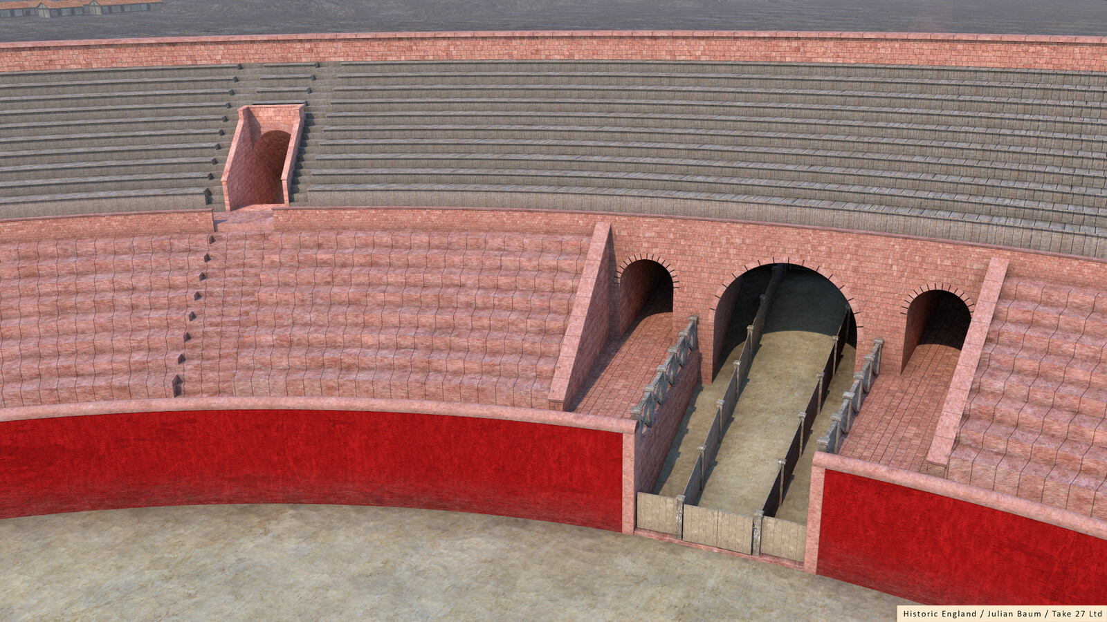 Chester's Roman ampitheatre, showing the lower stone tiers of seating, with the upper tiers being wooden.