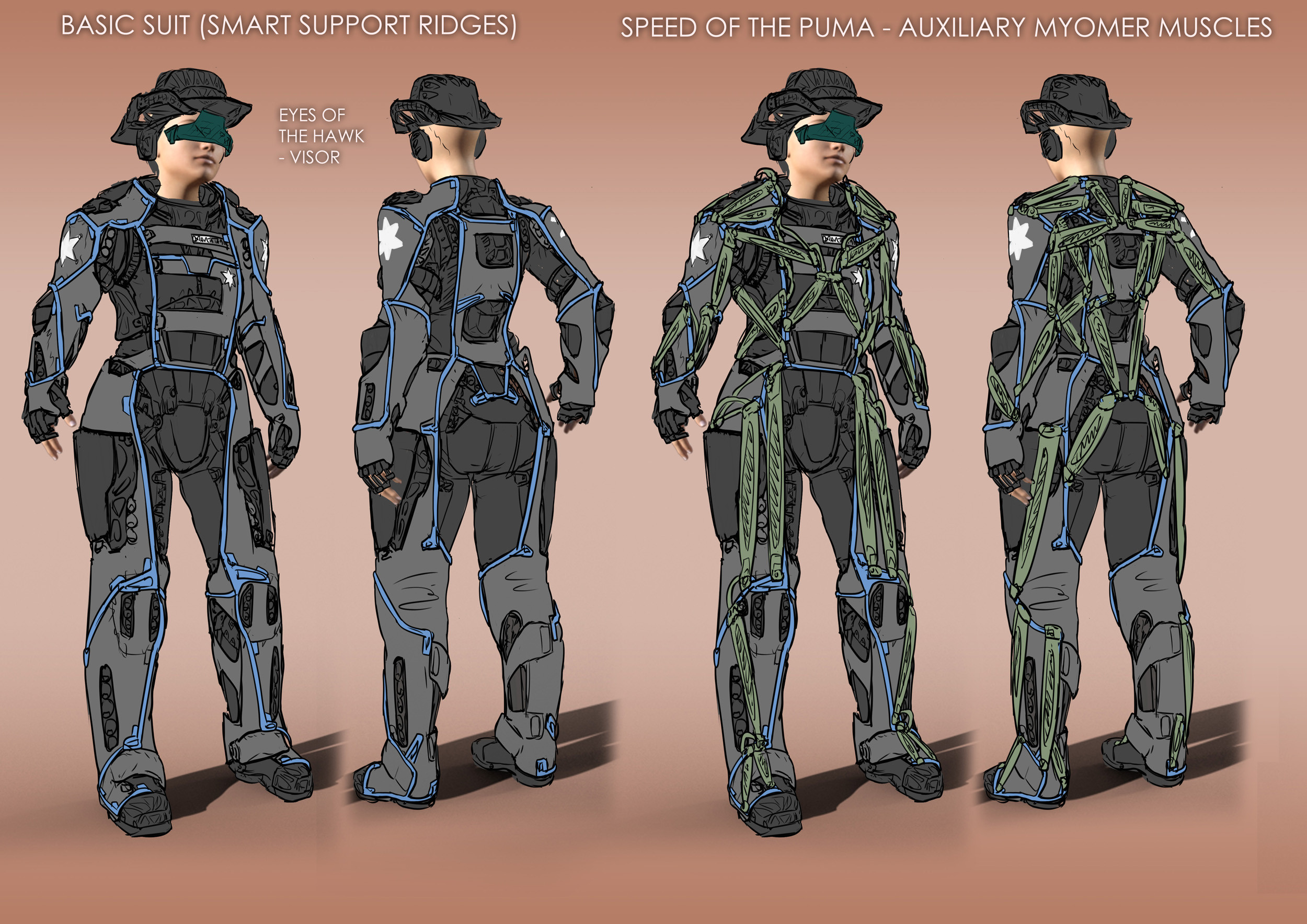 Sketches for the basic outfit and the exosuit in speed mode