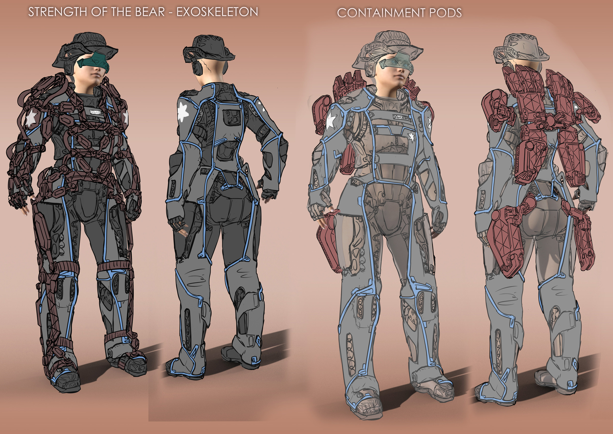 Sketches for the strength mode of the exosuit plus the container pods for the parts when the powers are not active