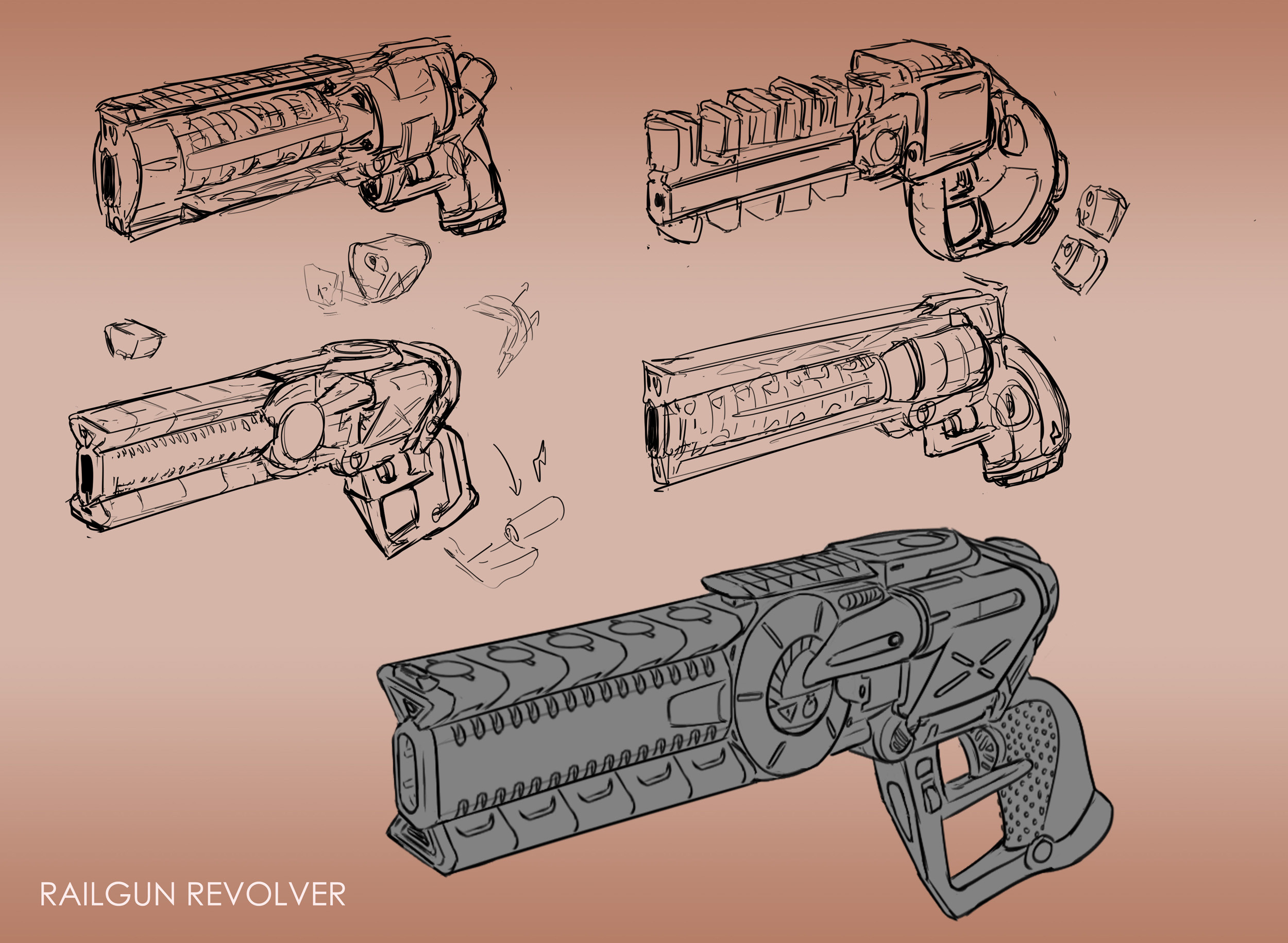 Quick design sketches for the sidearm