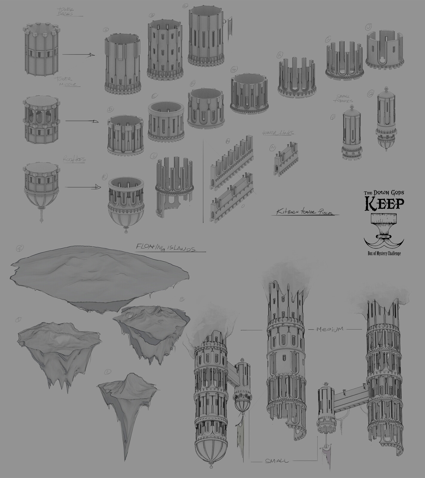 Kitbash 3d models created for the piece
