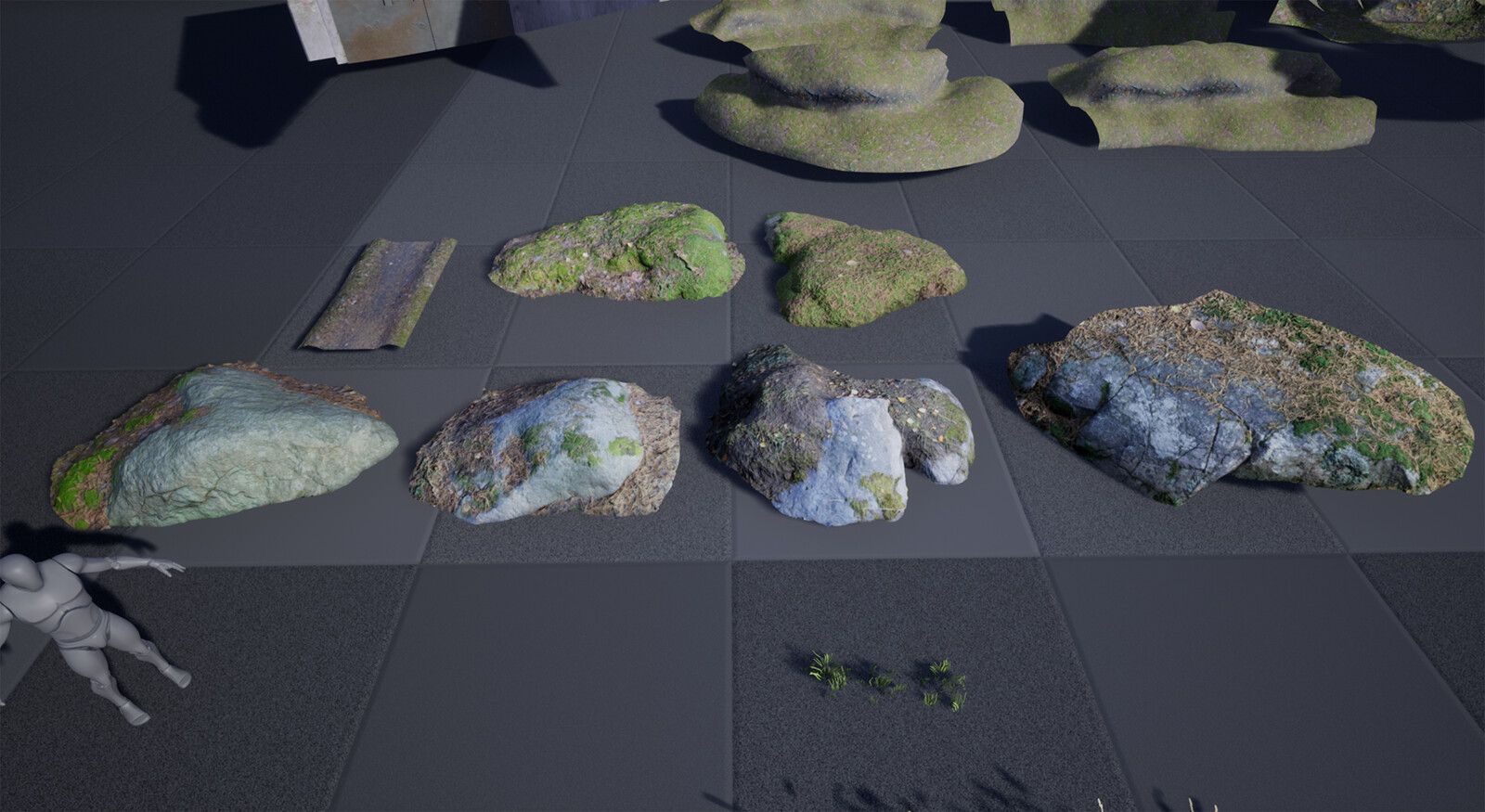 Photoscanned rocks, moss and path. These where used to detail the overall low resolution landscape.