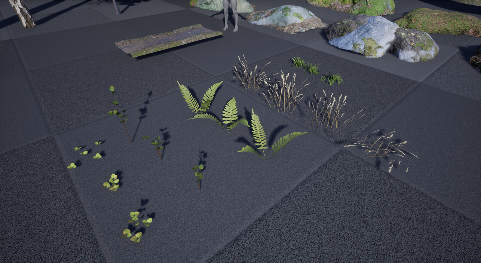 The collection of foliage used in the scene.