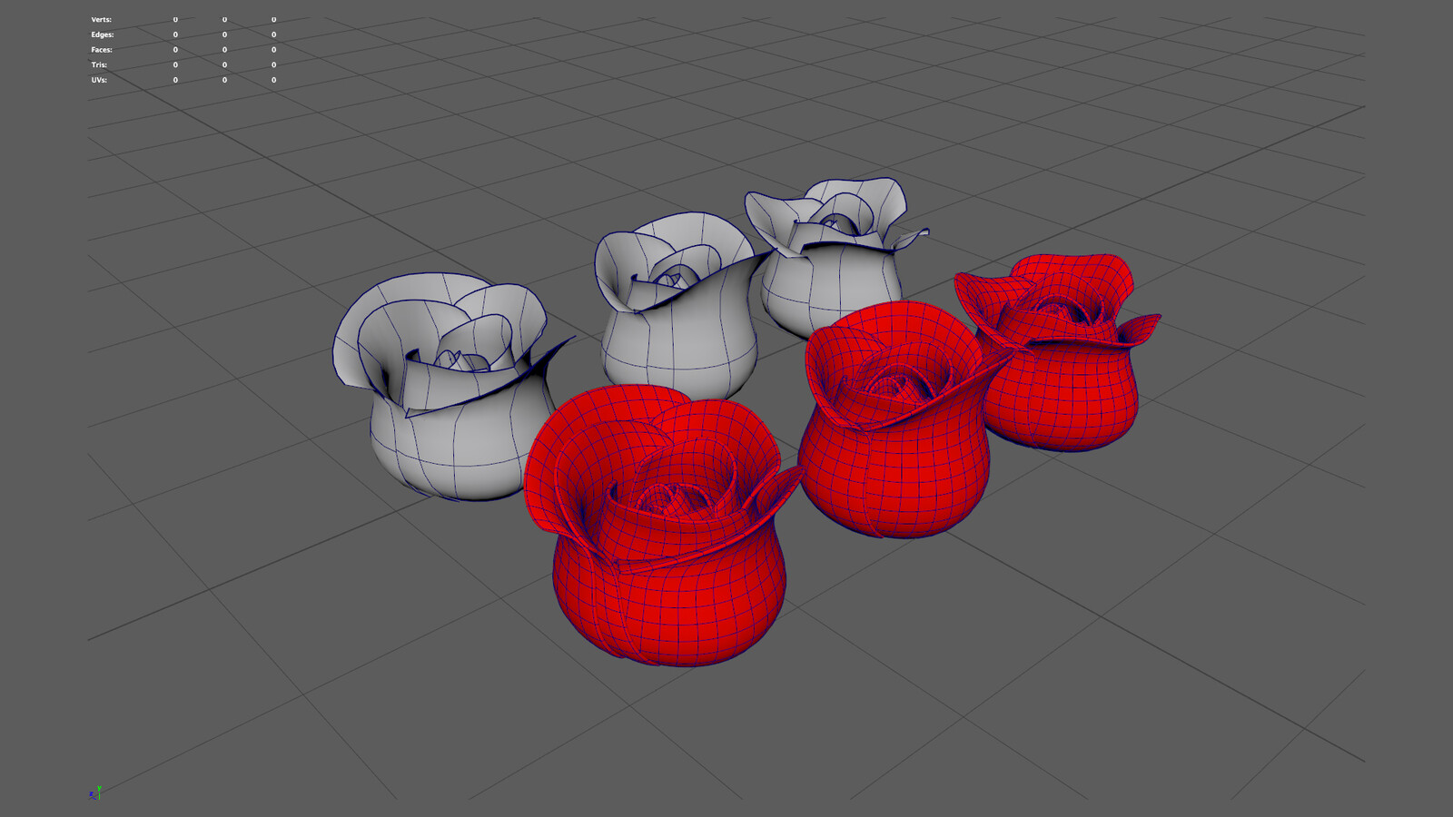 Roses created with NURBS and converted to poly quads.