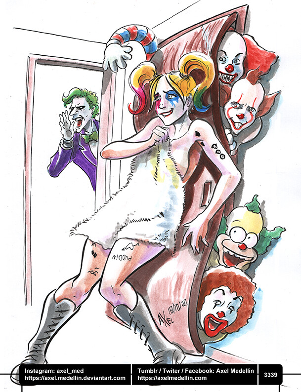 Drawlloween, day 18. There's a clown in my closet.