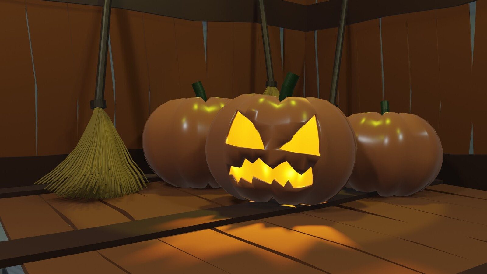 Scary Pumpkin with normal Pumpkin