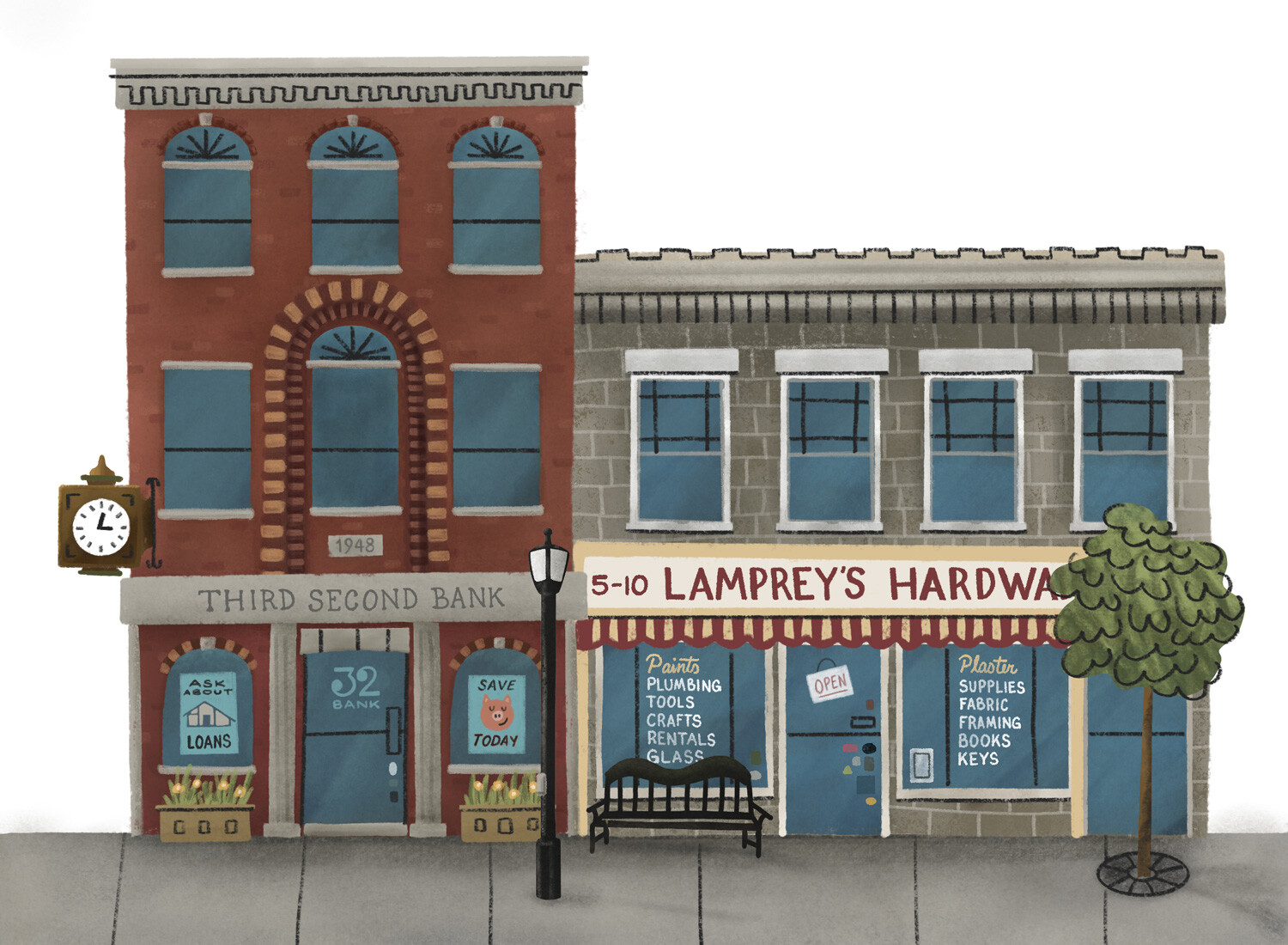 The local bank and hardware store
