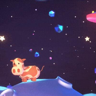 Judy kao artstation tykcartoon cute ufo and cow