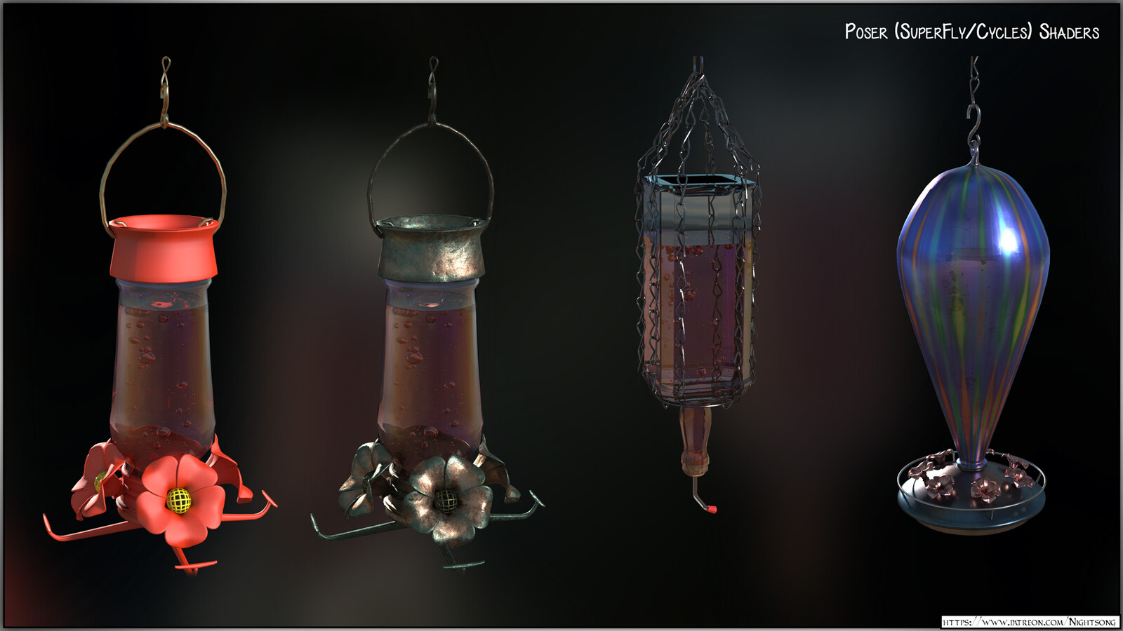 A texture preview of the hummingbird feeders in Poser, using the Superfly/Cycles render engine.