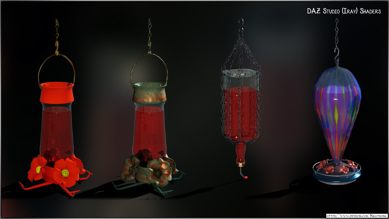 A texture preview of the hummingbird feeders in DAZ Studio, using the Iray render engine.