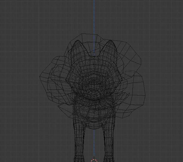 Wireframe front view of the seedling