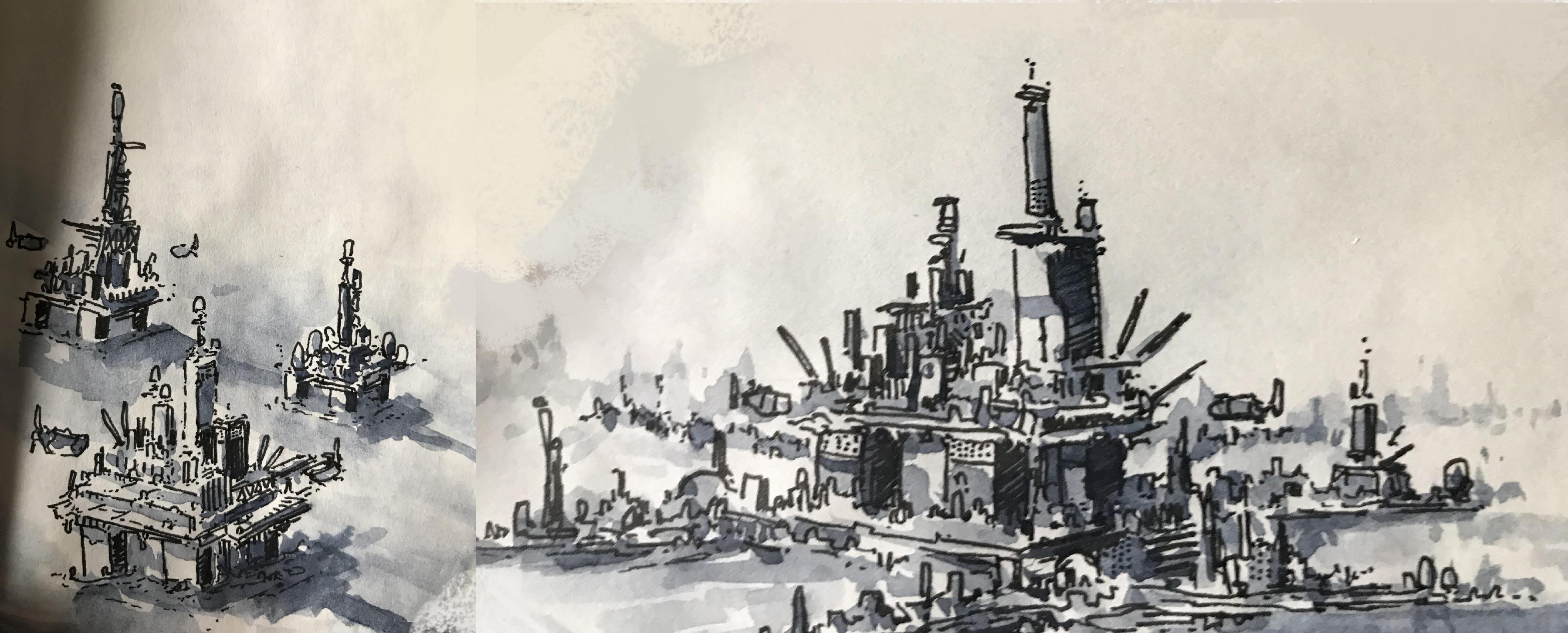 Pen and watercolor sketch