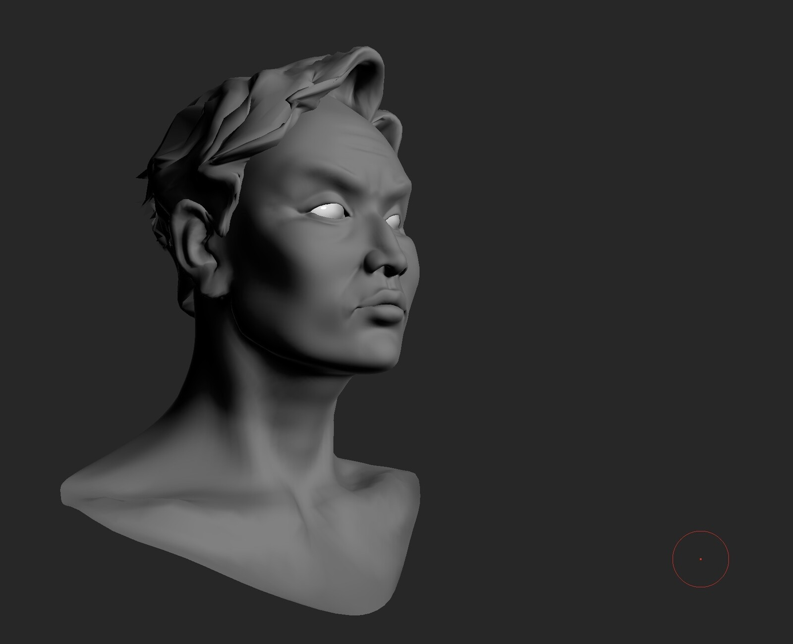 Here's the 3D model of Aditya's face that I posed and lit for reference!   For a more detailed process on how I made this bust, see this project: https://naladraws.artstation.com/projects/q9ZA0P?album_id=2019373