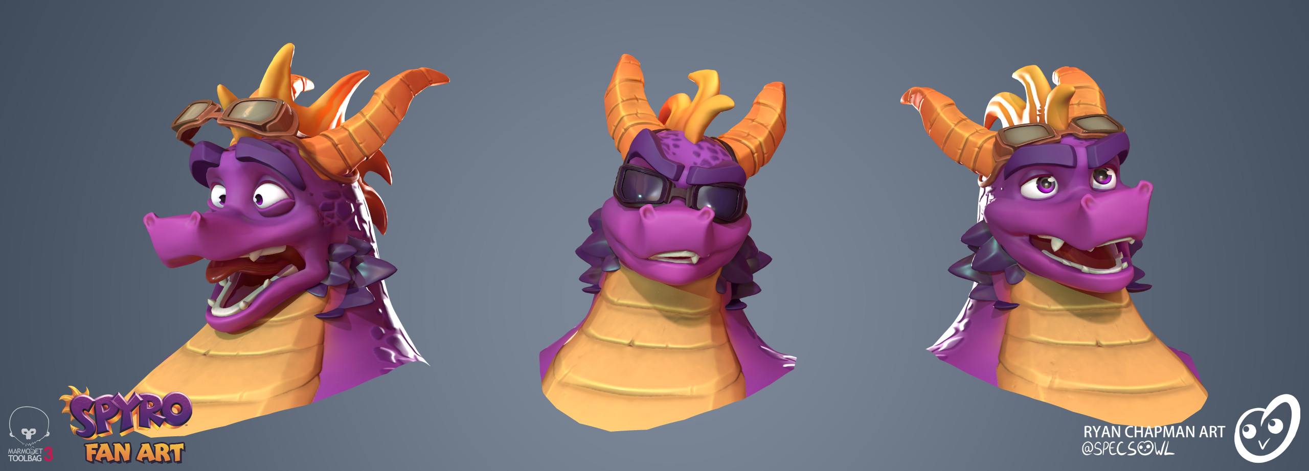 Various faces, sourced from original concept art and Spyro Reignited
