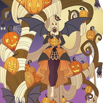 Jessica madorran patreon halloween tree lady print 2020 artstation 03