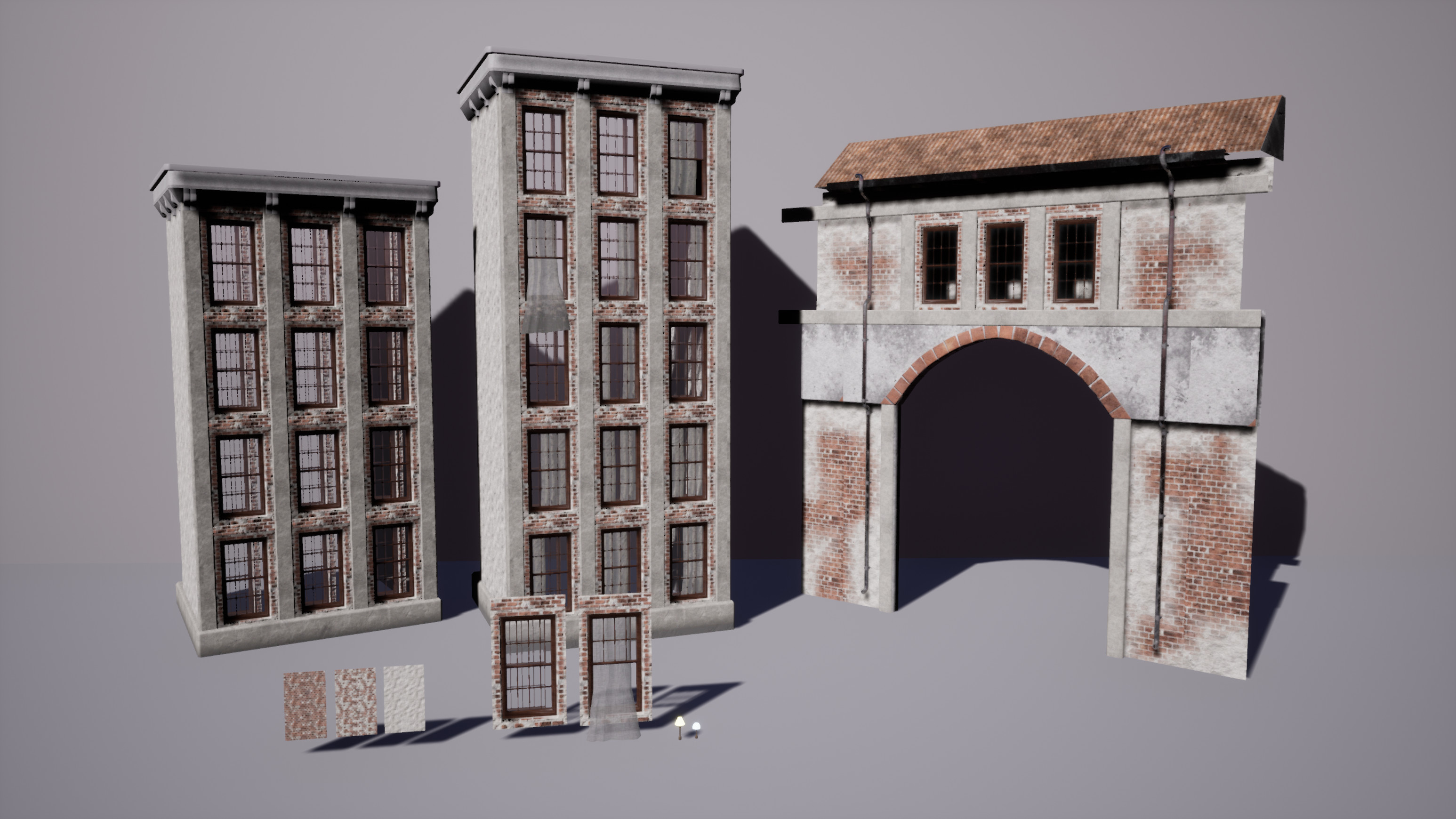 Building 1; two of the variants and the arch made from the same modular pieces (except the vault)