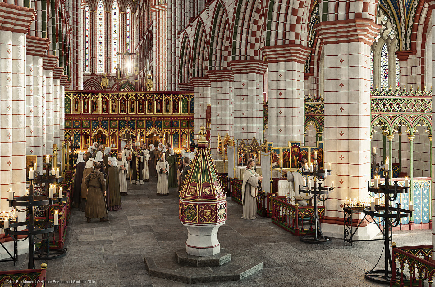 Digital Reconstruction of Glasgow Cathedral (c15th). Original rendering produced for Historic Environment Scotland (2019)