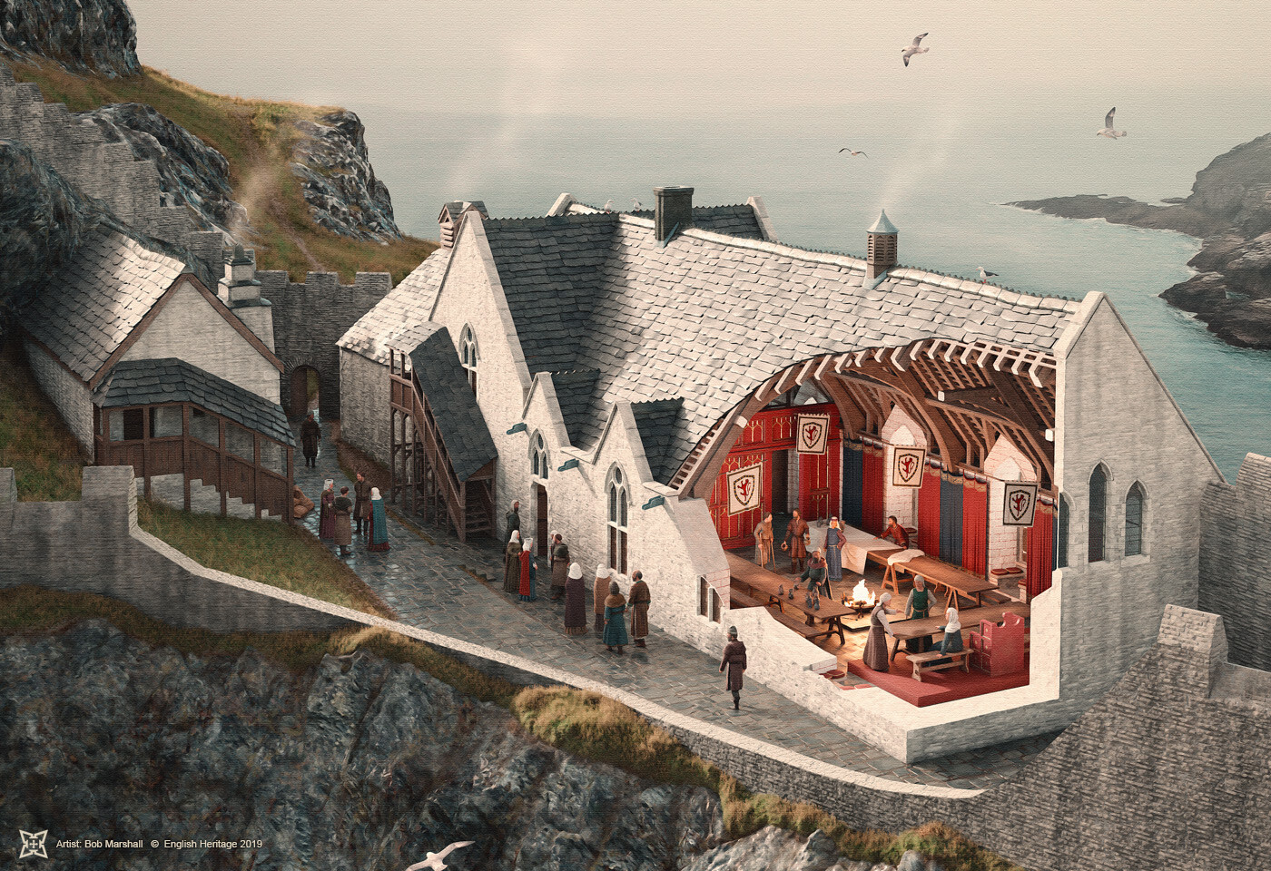 Digital Reconstruction of Richard, Earl of Cornwall's Great Hall at Tintagel Castle (c13th)