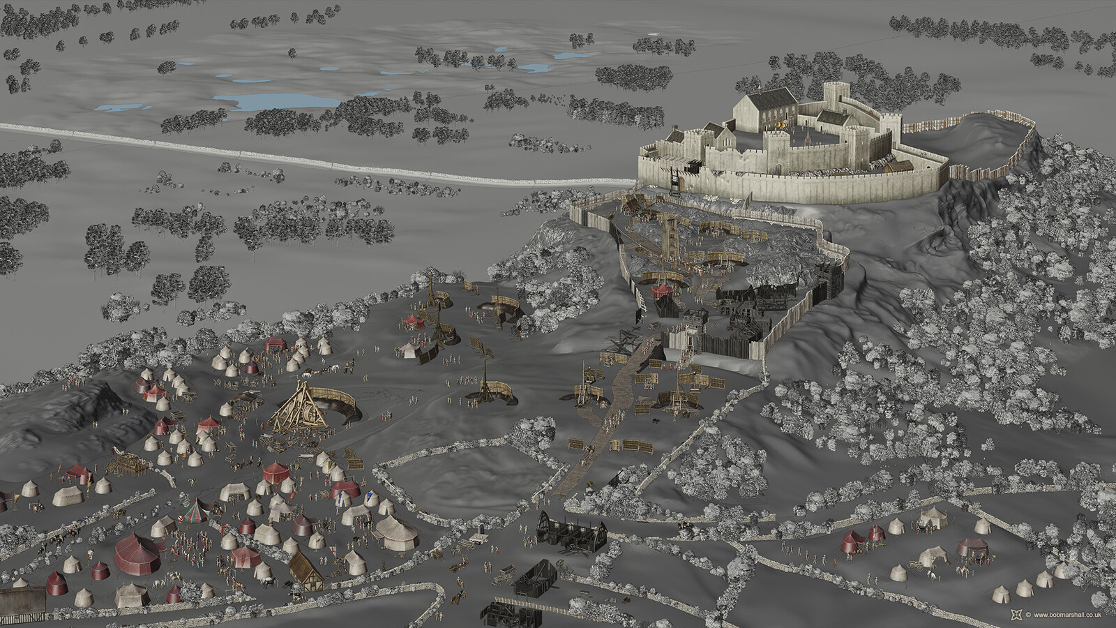 Blender 3D model - Siege of Stirling Castle, 1304