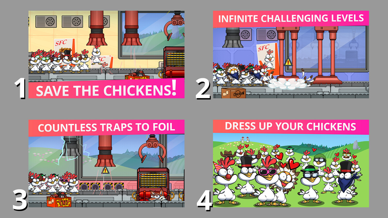 """Save the Chickens!"" edited assets for the Game Stores, 16:9  format"
