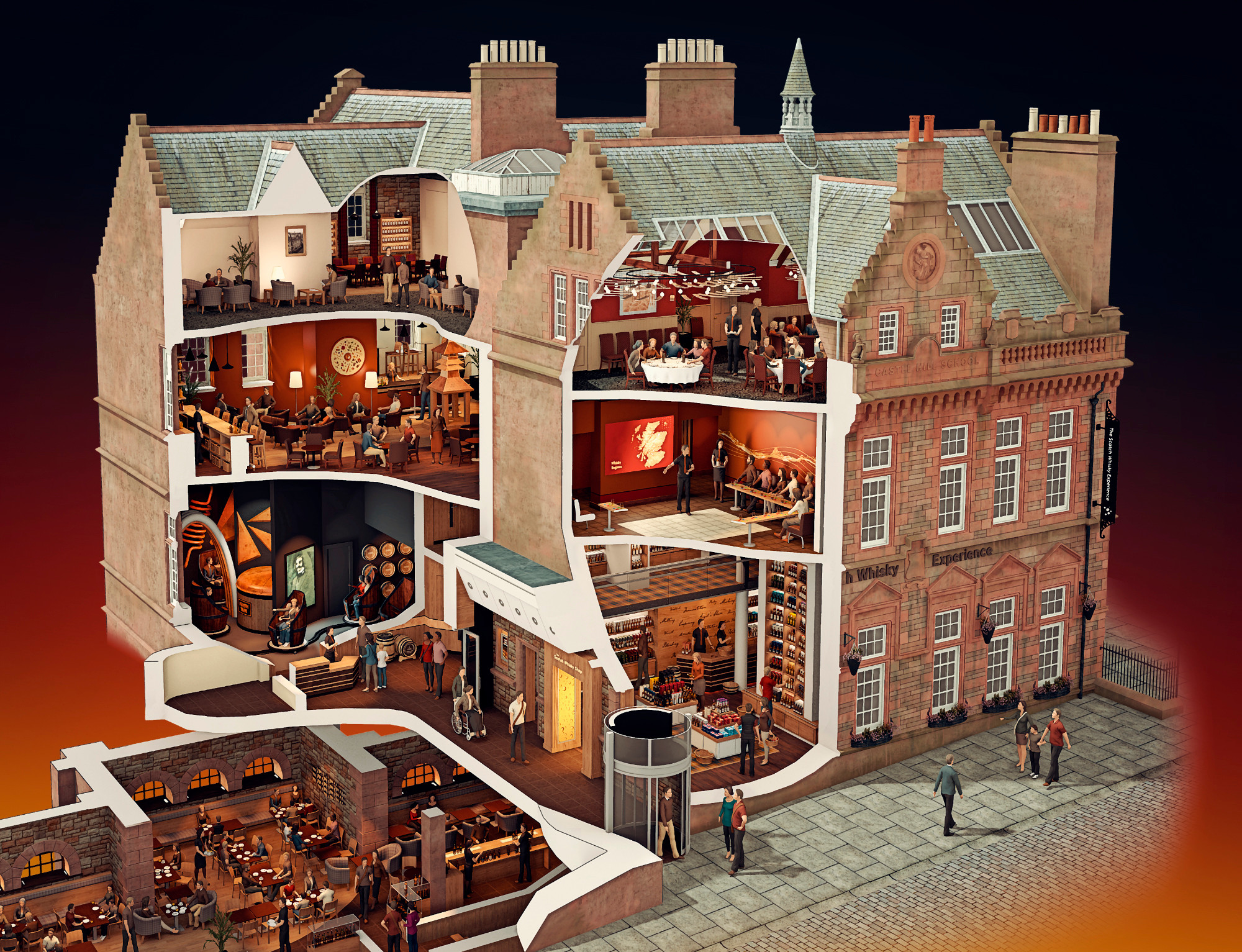Cutaway illustration (Scotch Whisky Experience, Edinburgh)