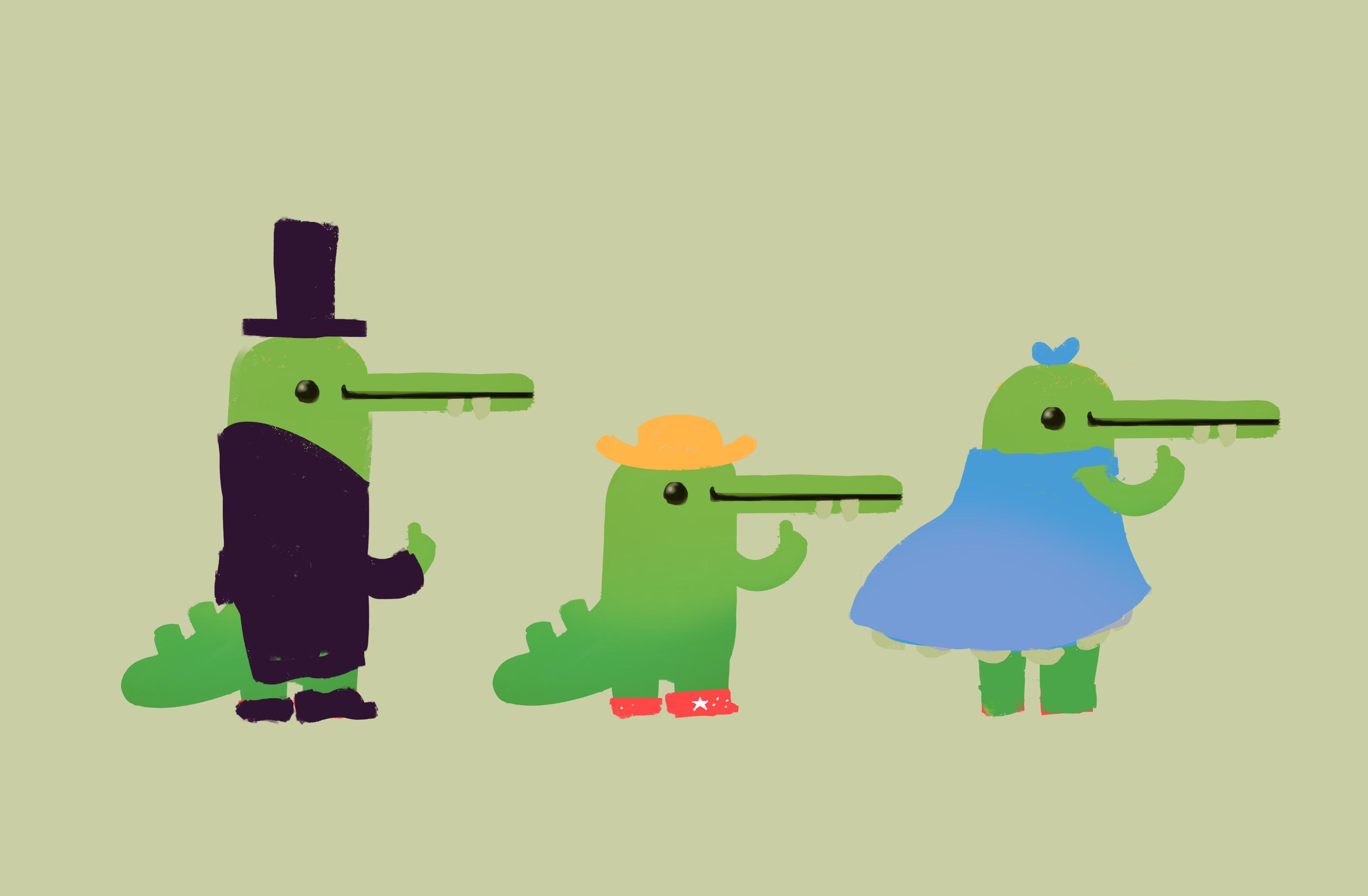 Crokodilla costume exploration.