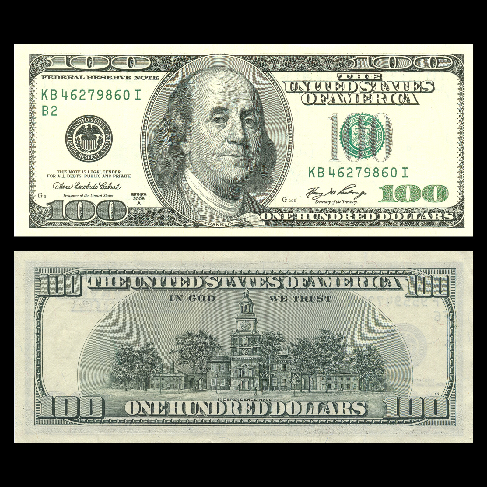 Images of front and back of US $100 bill used as bitmaps to generate the textures.