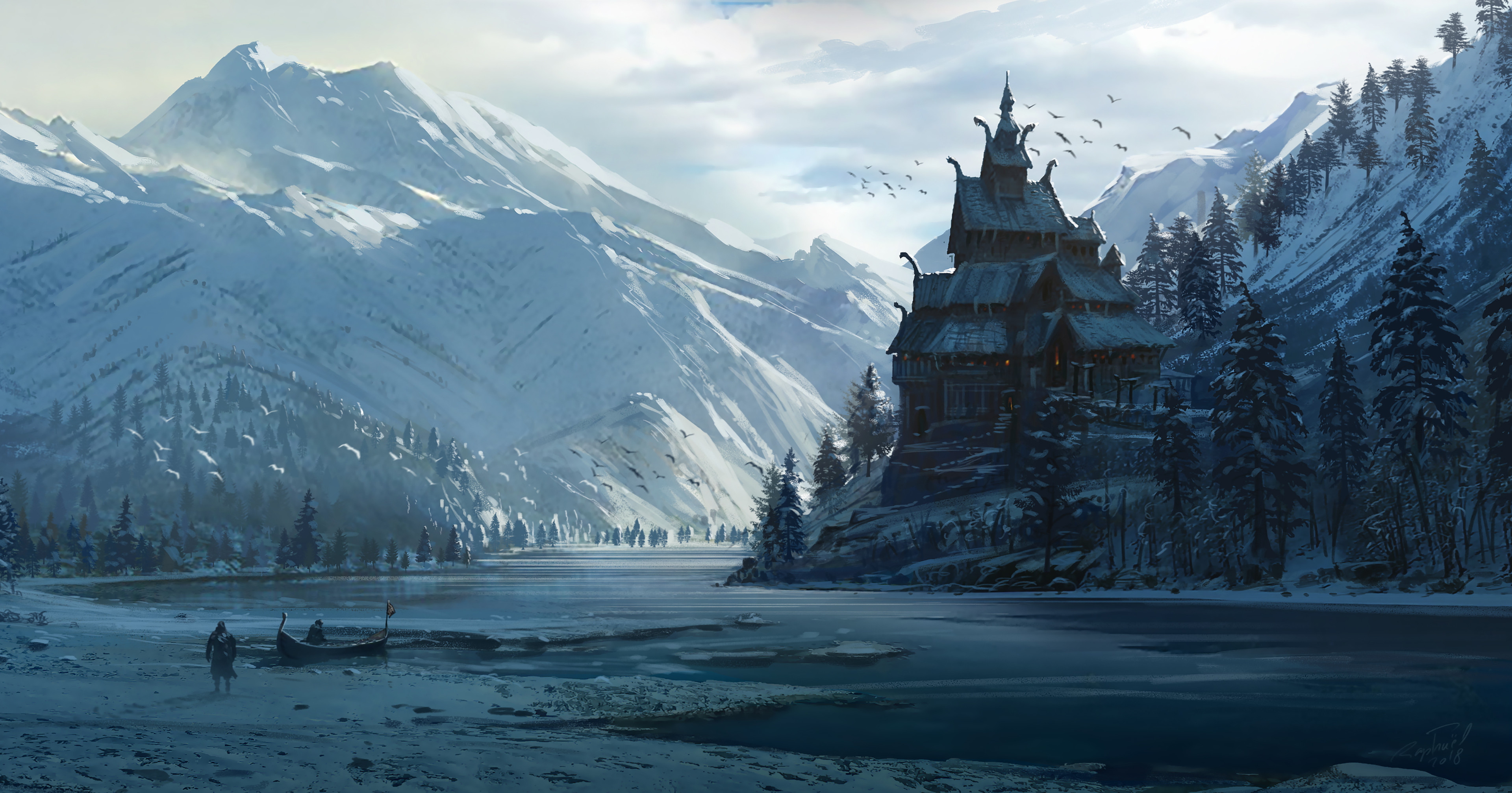 Norwegian Church in an epic Fjord, concept Art for the world of AC Valhalla