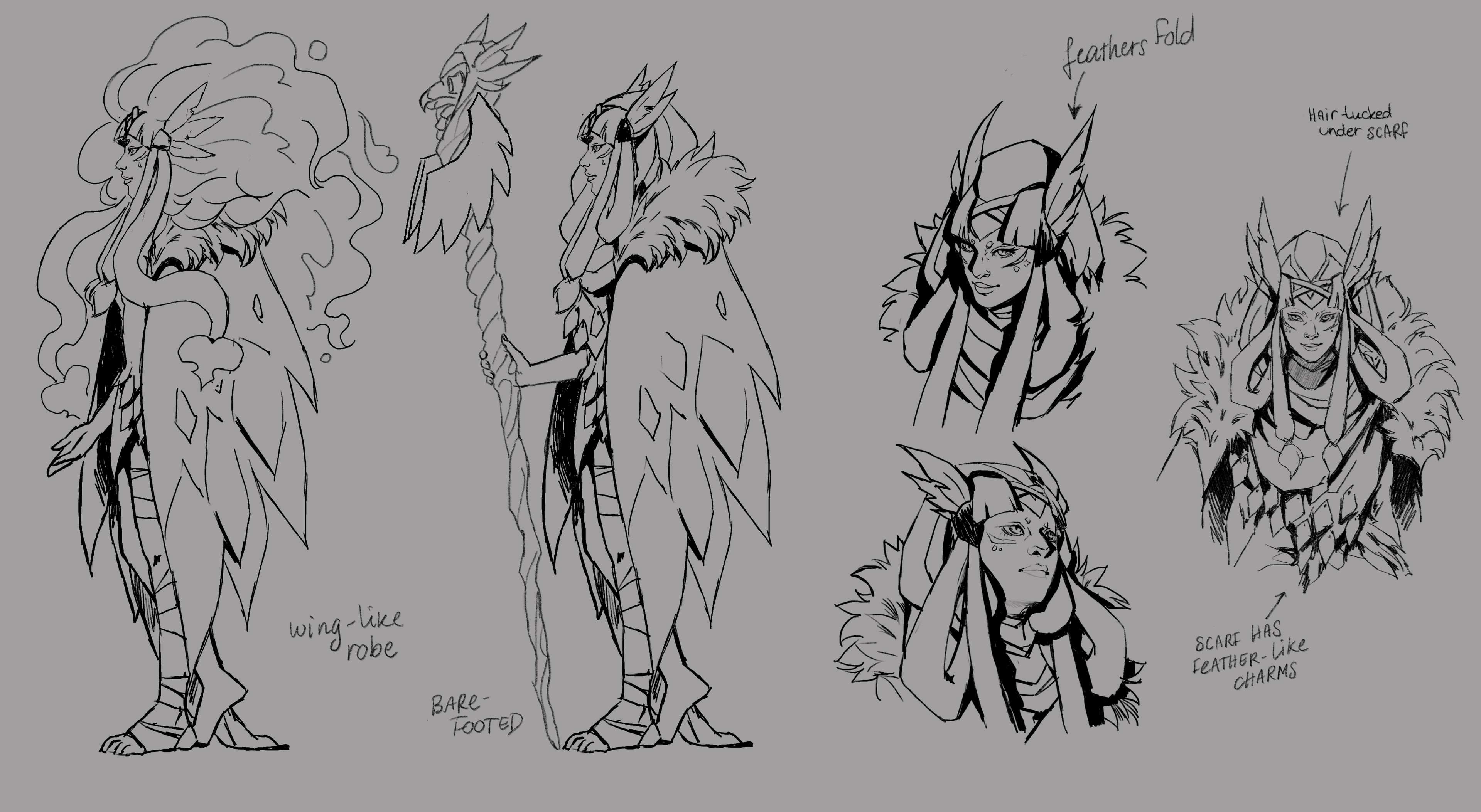 some sketches to explore her design further.