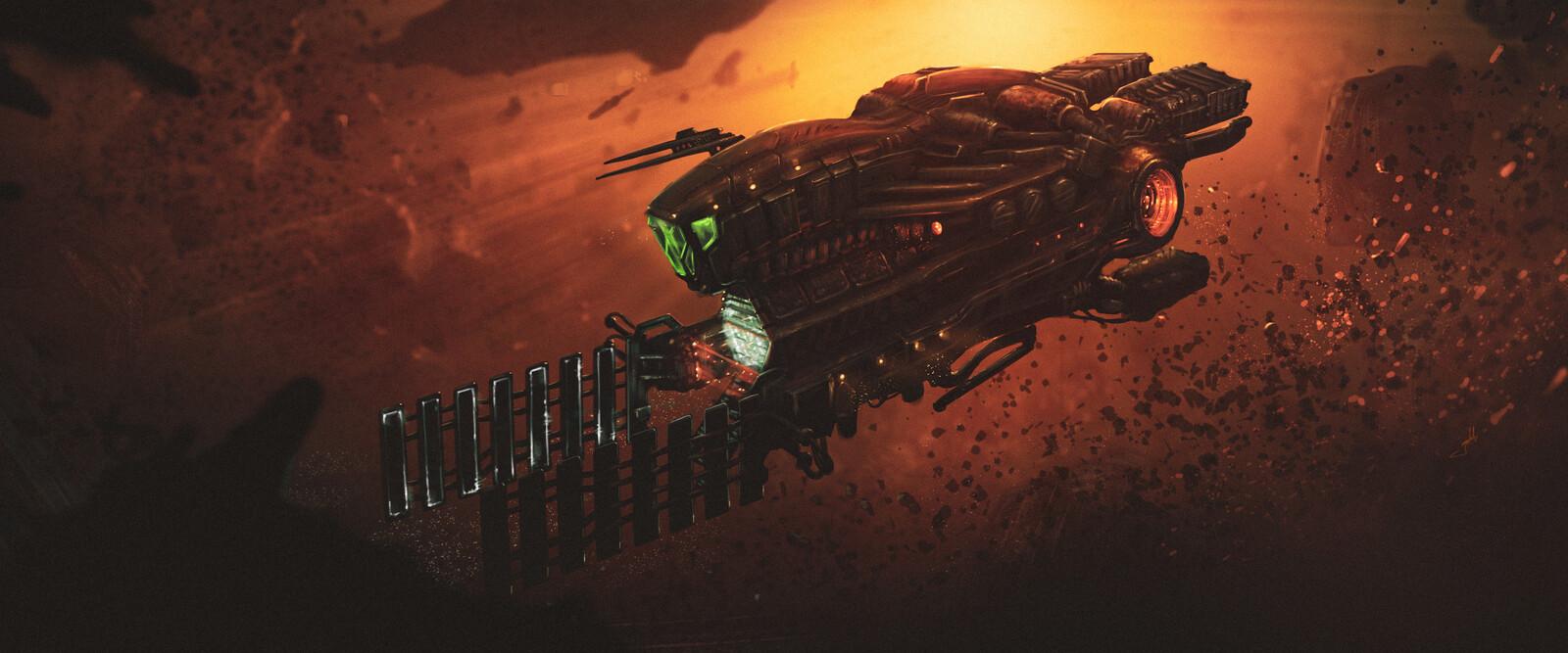 Ore mining spacecraft